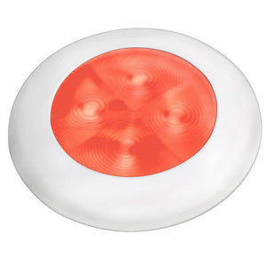 Hella Marine Slim Line LED 'Enhanced Brightness' Round Courtesy Lamp - Red LED - White Plastic Bezel - 12V