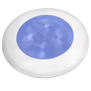 Hella Marine Blue LED Round Courtesy Lamp - White Bezel - 24V