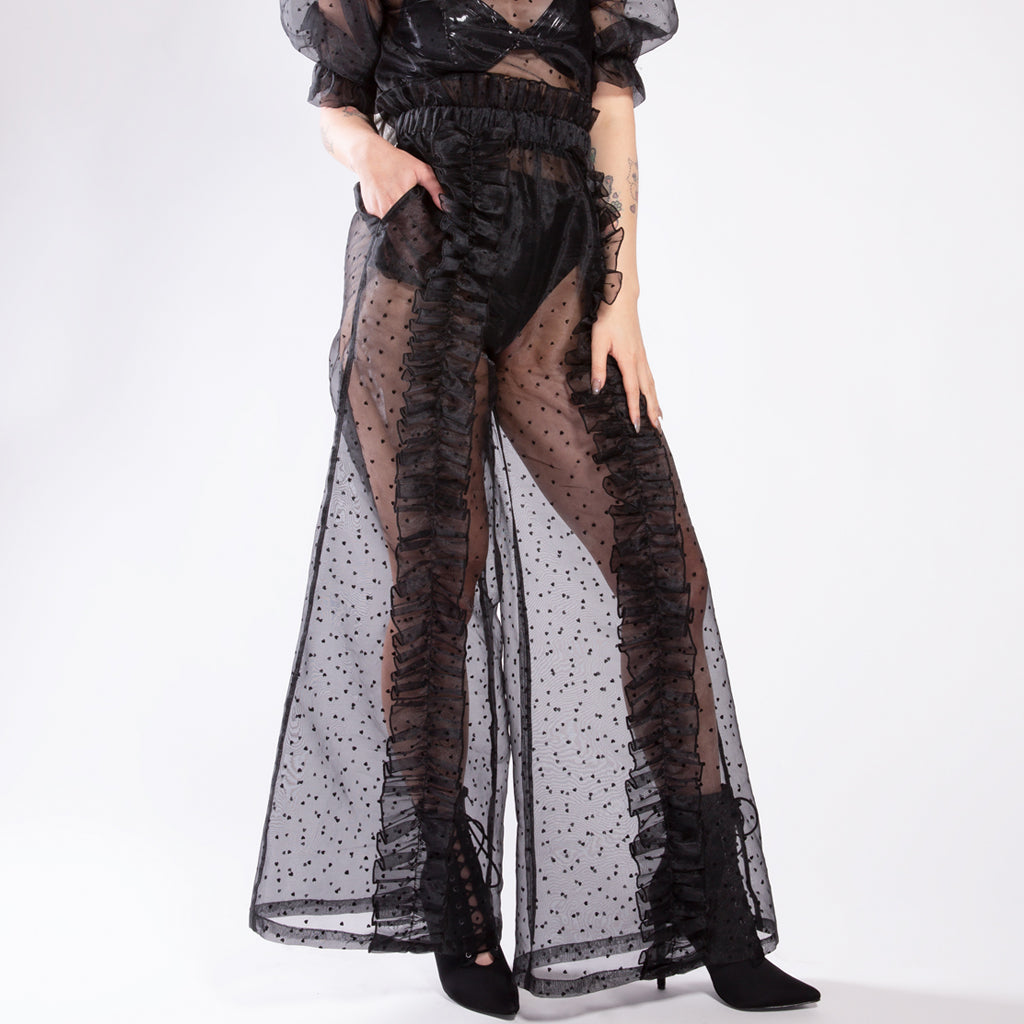 Broken Hearts Black Sheer Ruffle Pants