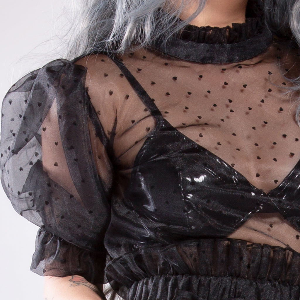 Broken Hearts Black Sheer Top