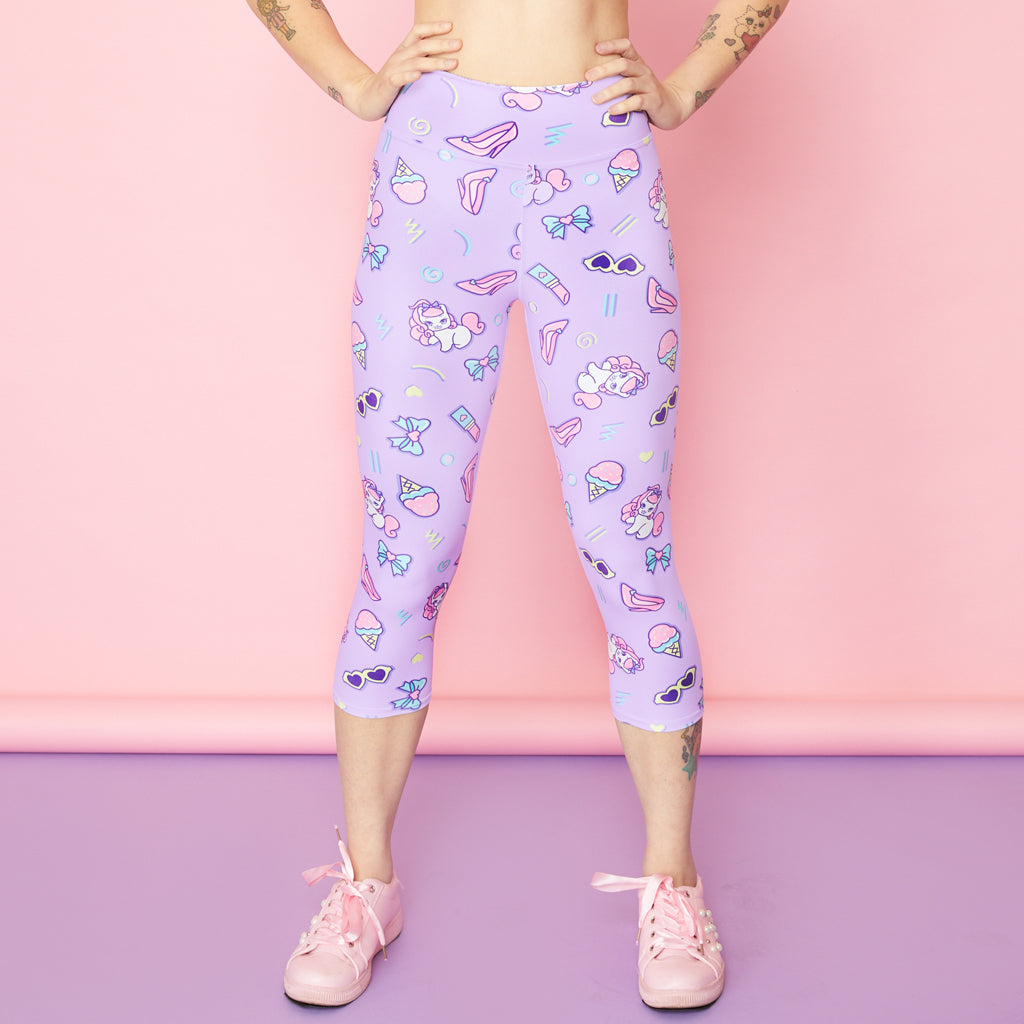 Retro Kawaii Capri Active Leggings