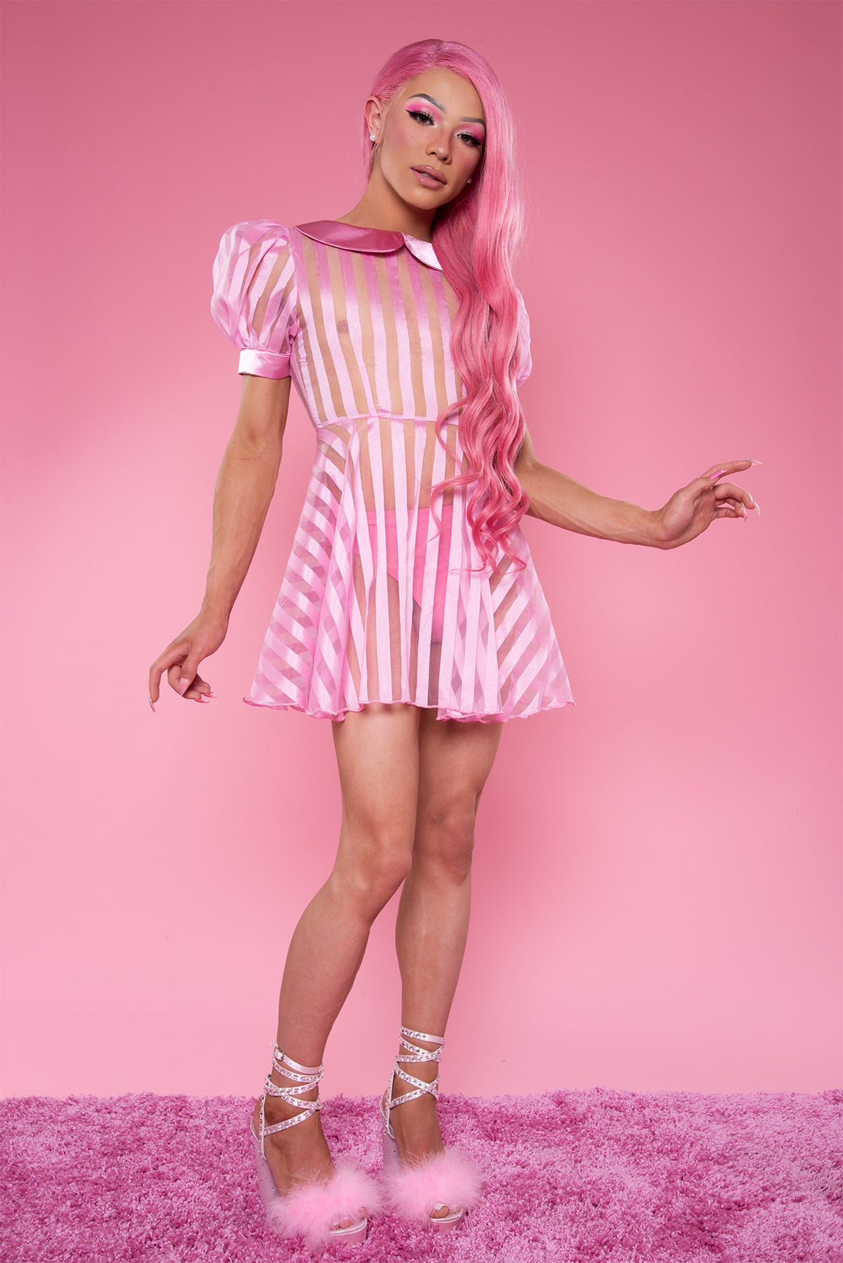 Candy Striper Sheer Dress