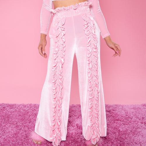 Pink Chocolate High Waisted Ruffle Pants