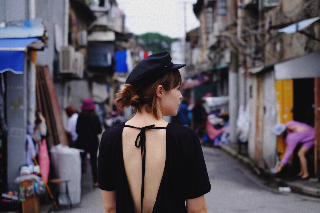 Leah  WEARS the wanderer dress in shanghai