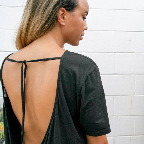 the mnml - ethical clothing - the wanderer dress - black close up
