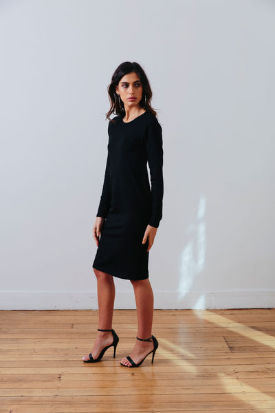 the mnml - ethical clothing - the winter dress - black side