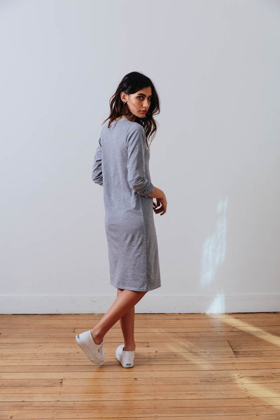 the mnml - ethical clothing - the winter dress - grey marle back
