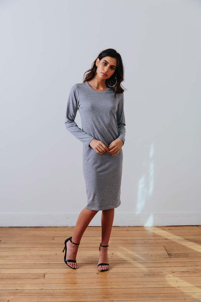 the mnml - ethical clothing - the winter dress - grey marle front