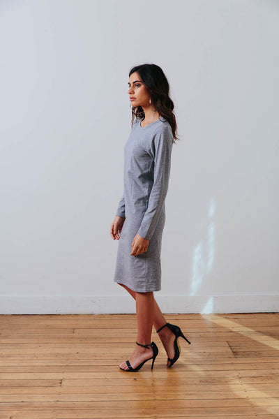 the mnml - ethical clothing - the winter dress - grey marle side