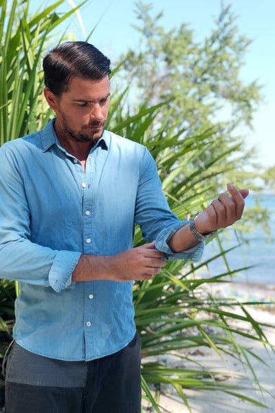 the boyfriend shirt - cuff visible on man - the mnml - affordable ethical clothing