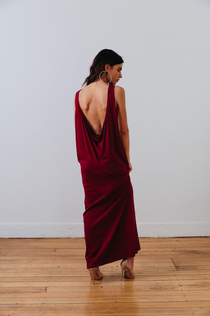 the mnml - ethical clothing - the decade dress - barcelona berry back