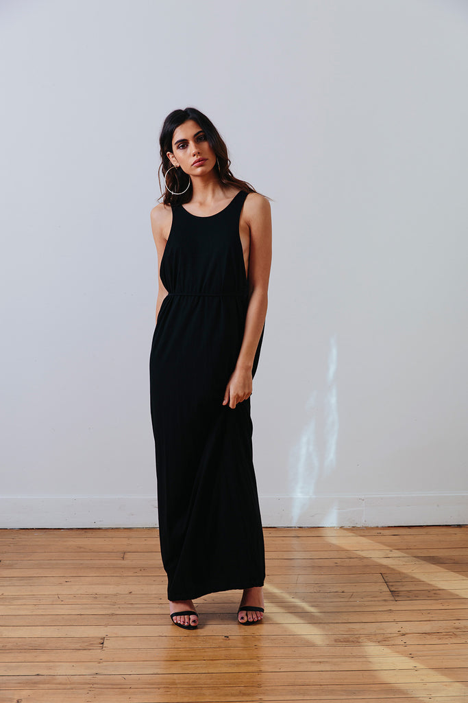 the mnml - ethical clothing - the decade dress - black front