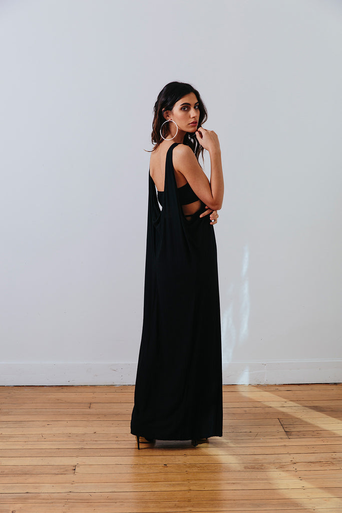 the mnml - ethical clothing - the decade dress - black back