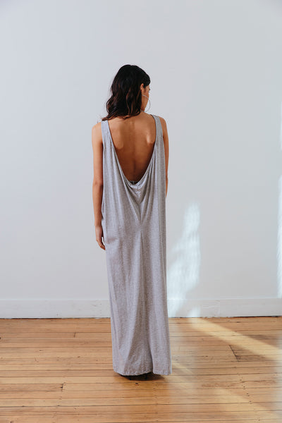 the mnml - ethical clothing - the decade dress - grey marle back