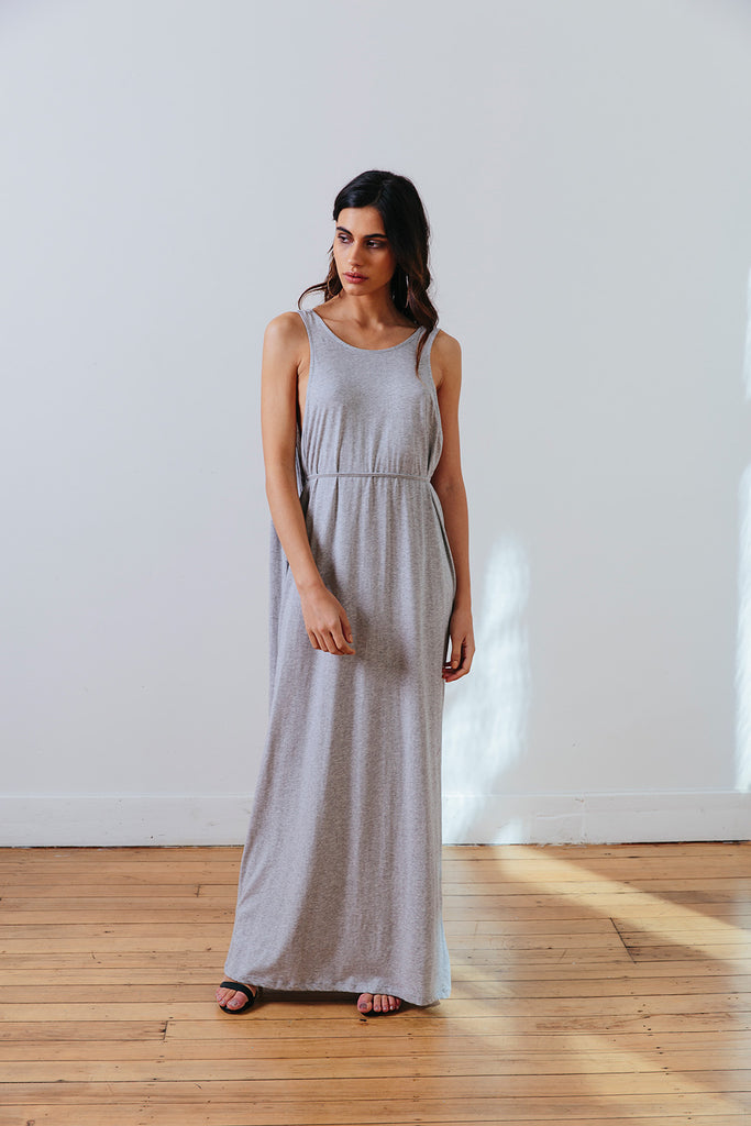 the mnml - ethical clothing - the decade dress - grey marle front