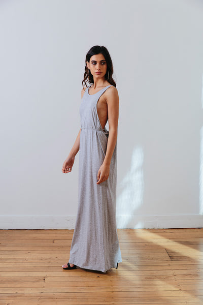 the mnml - ethical clothing - the decade dress - grey marle side
