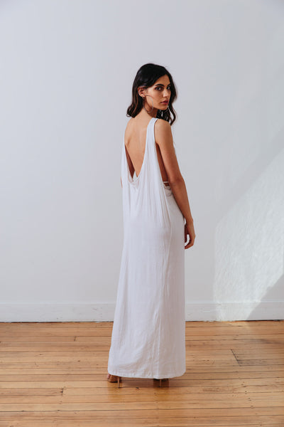 the mnml - ethical clothing - the decade dress - white back