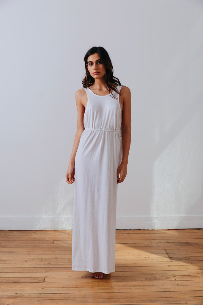 the mnml - ethical clothing - the decade dress - white front