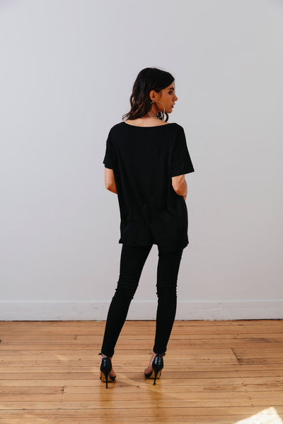 the mnml - ethical clothing - the oversized tee - black back