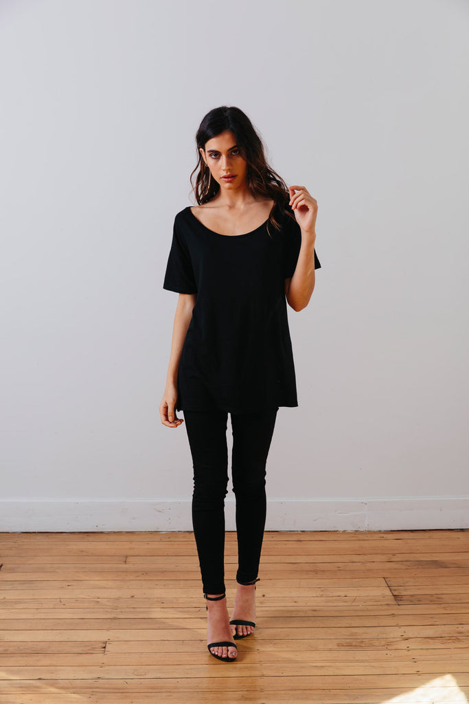 the mnml - ethical clothing - the oversized tee - black front