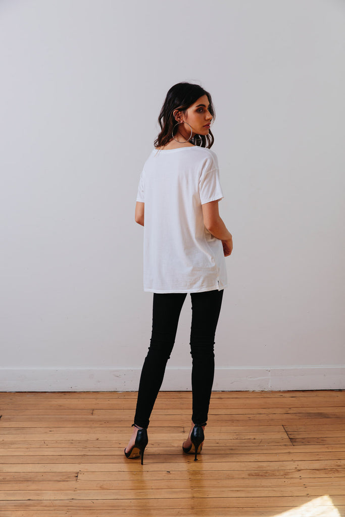 the mnml - ethical clothing - the oversized tee - white black