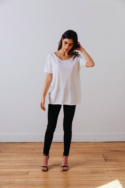 the mnml - ethical clothing - the oversized tee - white front