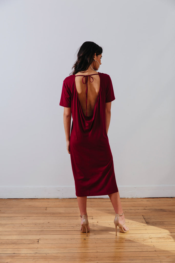 the mnml - ethical clothing - the wanderer dress - barcelona berry back