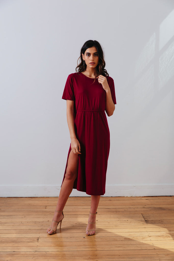 the mnml - ethical clothing - the wanderer dress - barcelona berry front