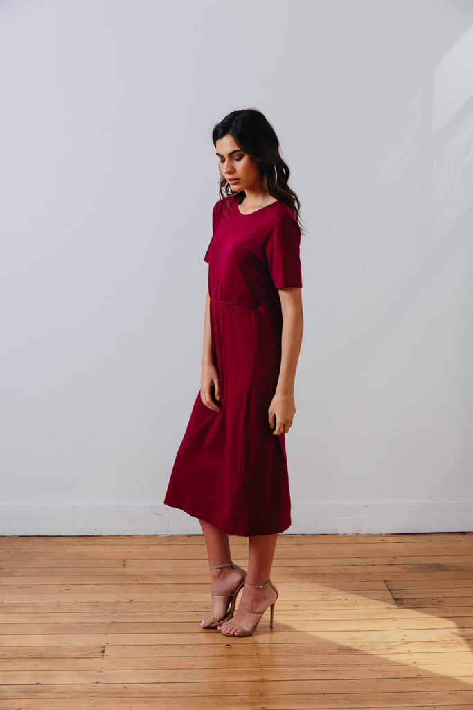 the mnml - ethical clothing - the wanderer dress - barcelona berry side