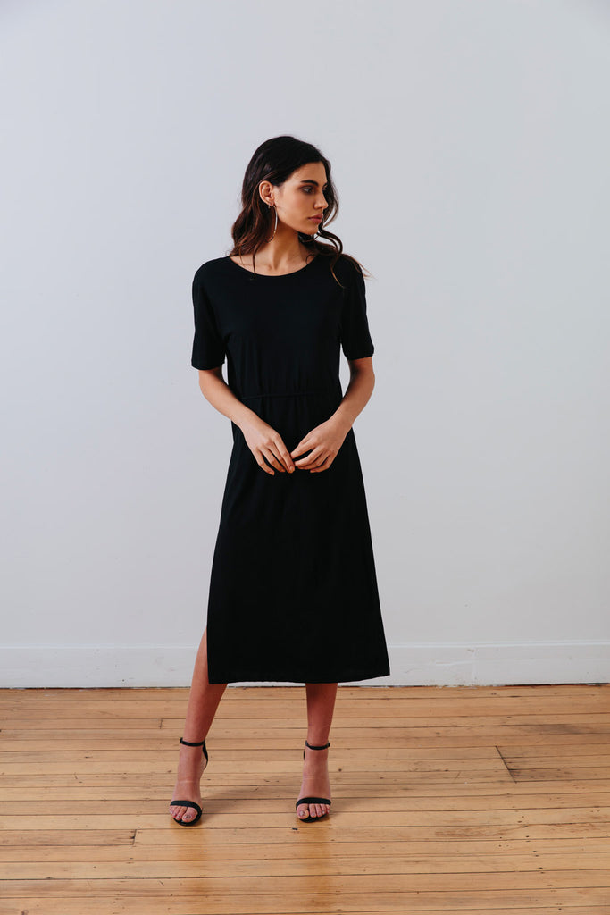 the mnml - ethical clothing - the wanderer dress - black front