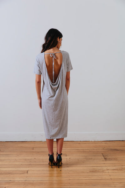 back view of the grey marle the wanderer dress