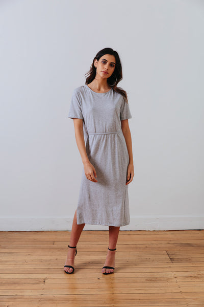 front view of the grey marle the wanderer dress