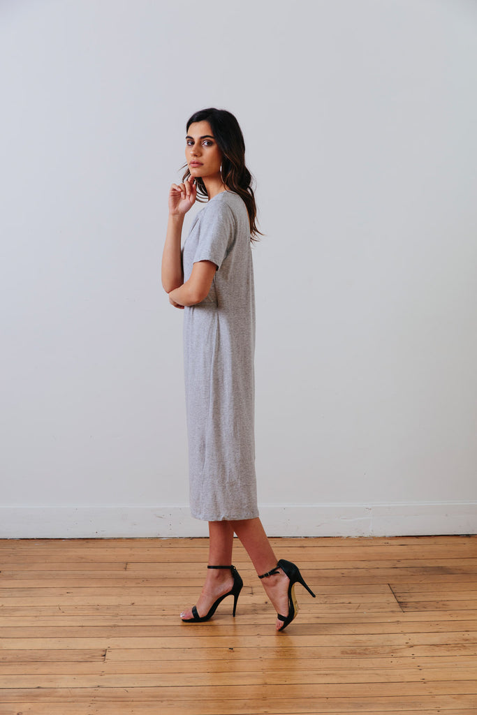 side view of the grey marle the wanderer dress