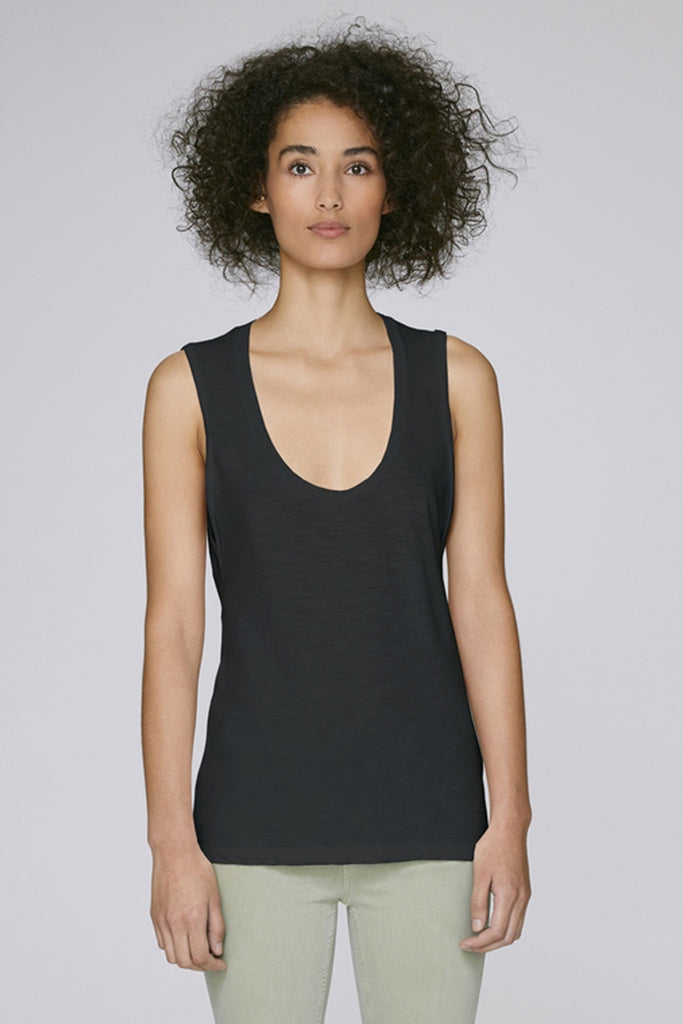 the doillon tank - black front - the mnml - affordable ethical clothing