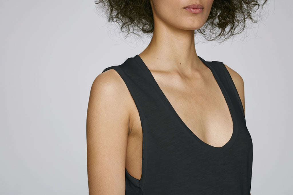 the doillon tank - black front and side - the mnml - affordable ethical clothing