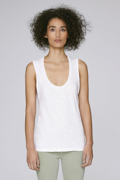 the doillon tank - white front - the mnml - affordable ethical clothing