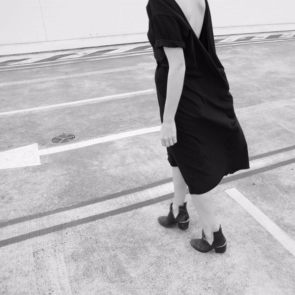 the mnml - ethical clothing - the wanderer dress - black back