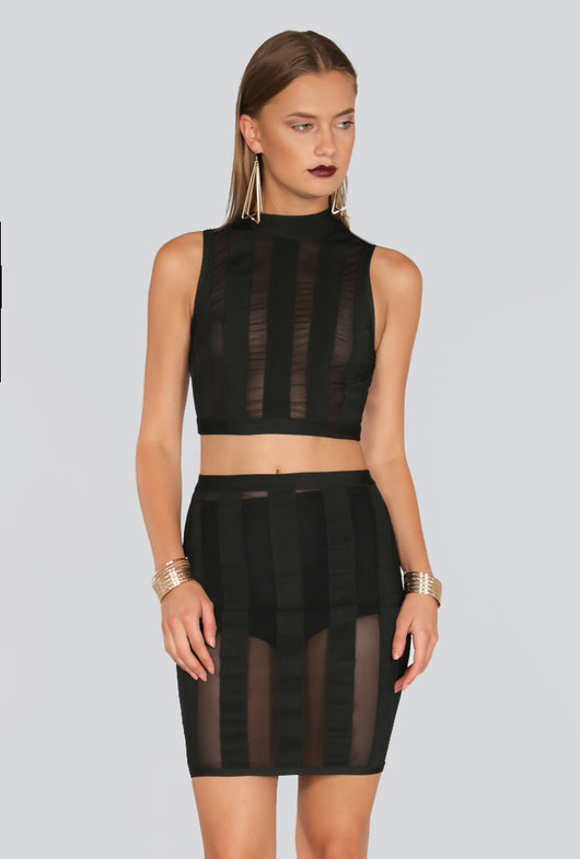 Mesh Paneled Crop & Skirt Set