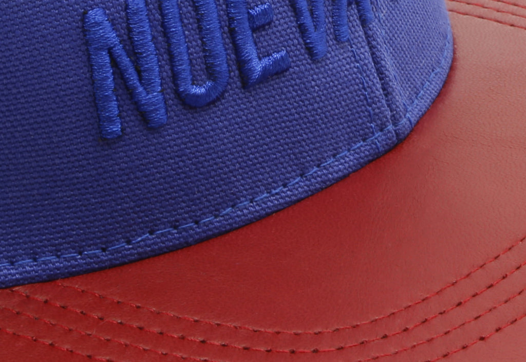 Papa Originals baseball cap with blue cotton canvas crown and premium red lambskin brim