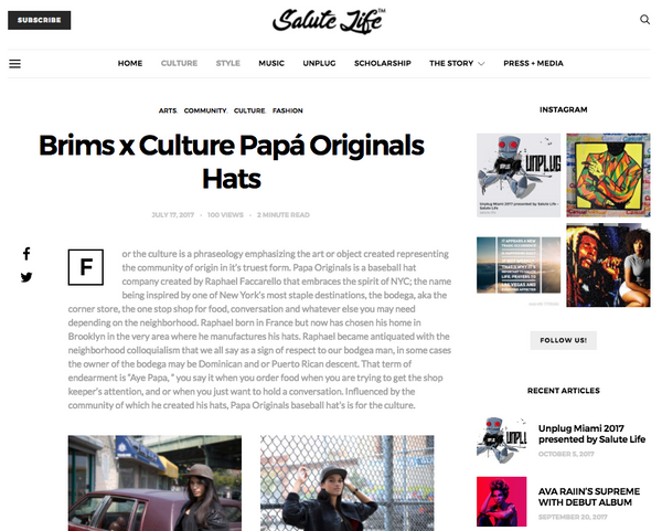 Papá Originals luxury premium baseball Hats caps made in Brooklyn New York