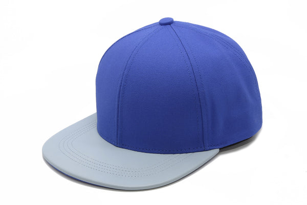 six panel Papa Originals baseball cap with light blue cotton canvas crown and sky blue Italian lambskin leather brim hat casquette