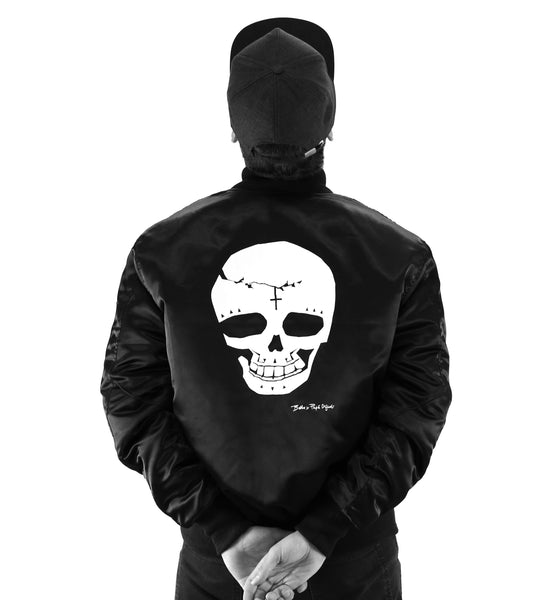 Papa Originals nylon back black bomber jacket with white print skull day of the dead baseball caps hats premium luxury