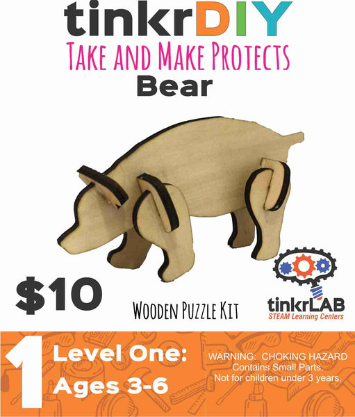 Wooden Puzzle - Bear - tinkrLAB