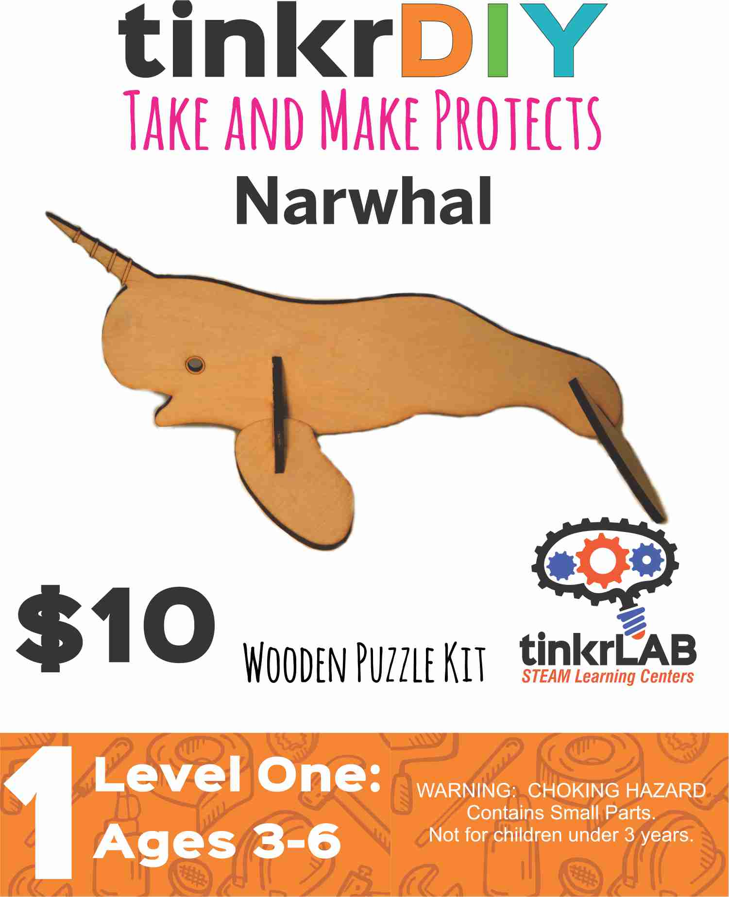 Wood Puzzle - Narwhal