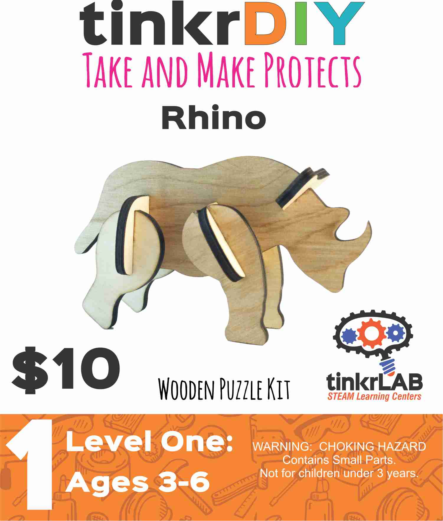 Wooden Puzzle - Rhino