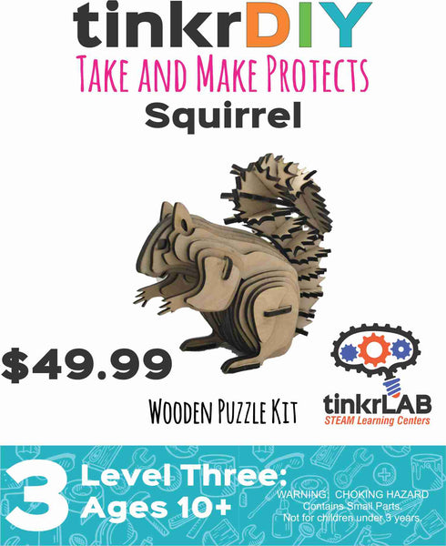 Wood Puzzle - Squirrel - tinkrLAB