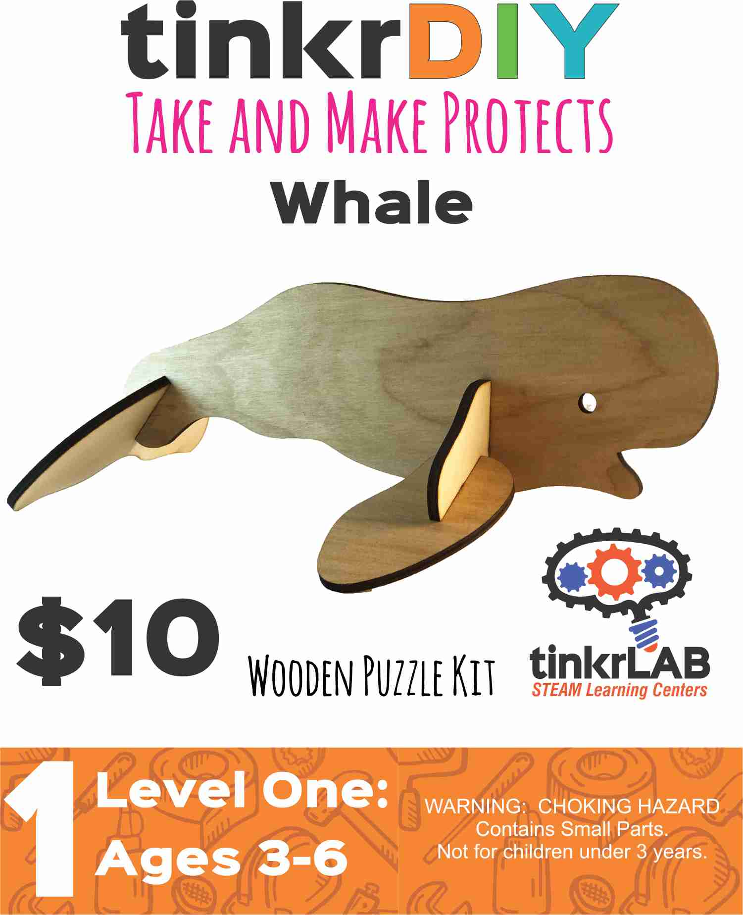 Wooden Puzzle - Whale