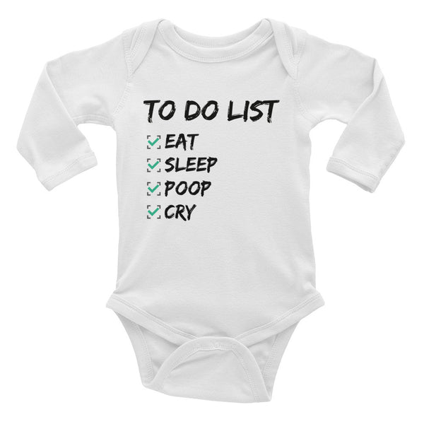 To Do List Infant long sleeve one-piece