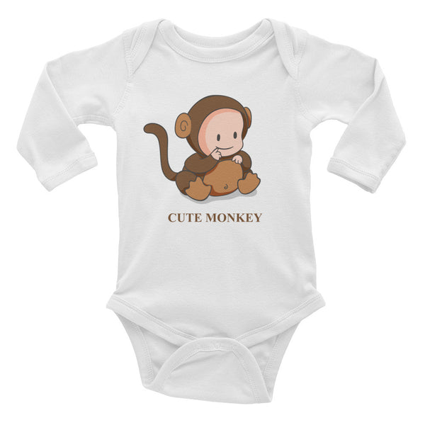 Cute Monkey Infant long sleeve one-piece