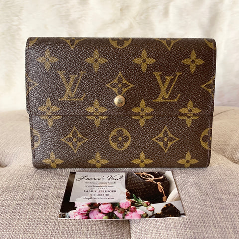 LOUIS VUITTON AUTHENTIC COMPACT TRIFOLD WALLET MONOGRAM (SP1909)